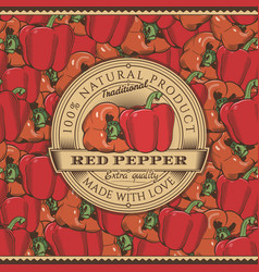vintage red pepper label on seamless pattern vector image
