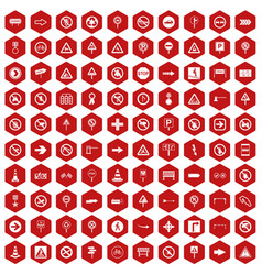 100 road signs icons hexagon red vector