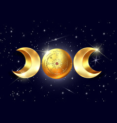 3d gold triple moon wicca pagan goddess universe vector