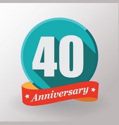 40 anniversary label with ribbon vector