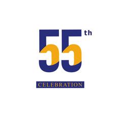 55 th anniversary celebration orange blue vector