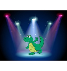 A crocodile dancing in the middle of the stage vector image