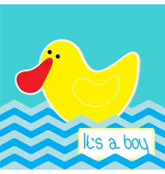 Baby boy shower card with funny duck vector