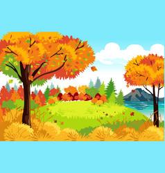 Beautiful autumn or fall season nature landscape vector