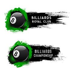 Billiards ball pool or snooker club championship vector