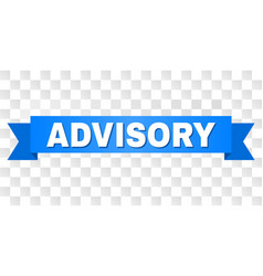 Blue ribbon with advisory title vector