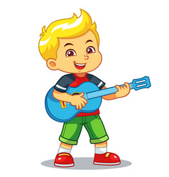 boy practicing music with his guitar vector image
