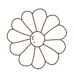 Brown silhouette with daisy flower in closeup vector