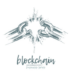 Business concept broken chain blockchain vector