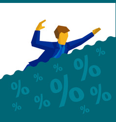 businessman is drowning in debt and loans vector image