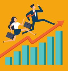 businessman running along growing chart vector image