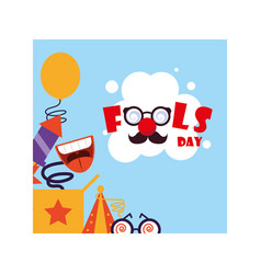 Card with label april fools day humorous party vector