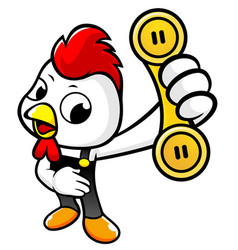 Cartoon chicken character holding a telephone vector