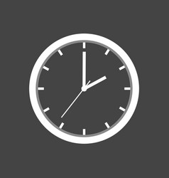 Clock icon flat design on grey background vector
