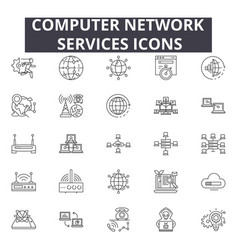 computer network services line icons for web and vector image