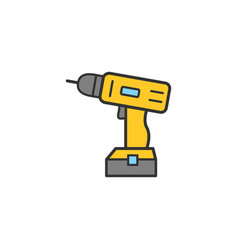 cordless electric screwdriver linear icons vector image