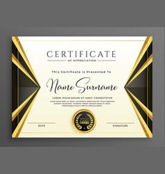 Creative certificate template with luxury golden vector