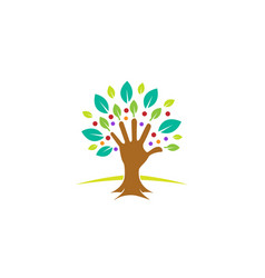 creative green hand tree logo vector image