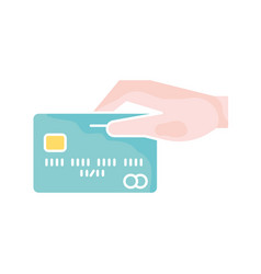credit card with hand single icon vector image