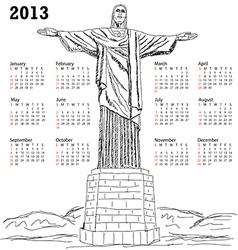 Cristo redentor 2013 calendar vector