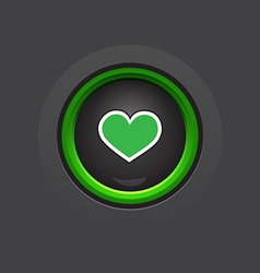 dark glossy circle heart button vector image