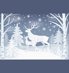 Deer walking in winter forest vector