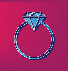 diamond sign blue 3d printed vector image