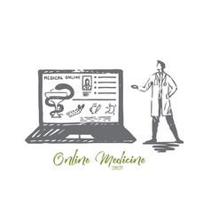 Doctor online medicine laptop service concept vector
