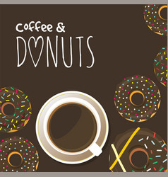 donuts and cup coffee poster background vector image
