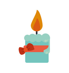 Easter candle flame with ribbon bow decoration vector