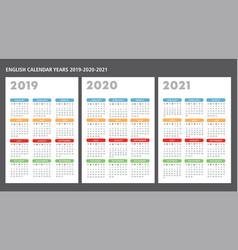 English calendar 2019-2020-2021 template vector