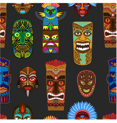 ethnic african or mexican aborigen masks vector image