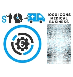 Euro Diagram Options Icon with 1000 Medical vector