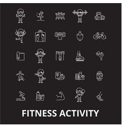 fitness activity editable line icons set on vector image
