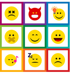 Flat icon emoji set of smile asleep hush and vector
