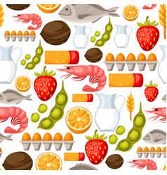 food allergy seamless pattern with allergens and vector image
