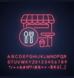Food court neon light icon vector