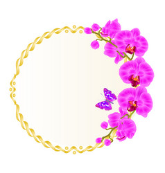 Foral round golden frame with orchids purple vector