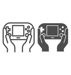 Gamepad in hands line and glyph icon joypad in vector
