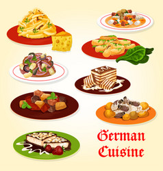 german cuisine icon of bavarian dinner with cake vector image