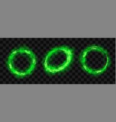 green smoke circles round glow smog clouds set vector image