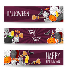 halloween banners sticker with halloween symbol vector image
