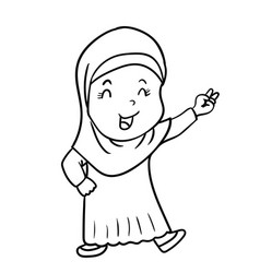 hand drawing muslim girl cartoon with victory vector image