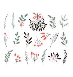Hand drawn winter elements christmas vector