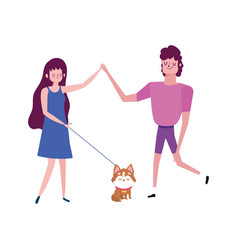 Happy couple with little dog cartoon isolated vector
