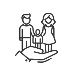 Here is a family - modern line design icon vector