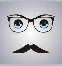 hipster man face on gray background vector image