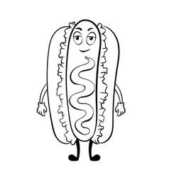 hot dog cartoon coloring book vector image