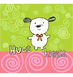 Hugs and kisses greeting card with cute puppy vector