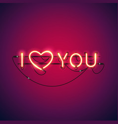 I love you neon sign vector